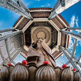 Guanyin  by Aluda Tan - Buildings & Architecture Statues & Monuments ( guanyin, 佛教, fisheye, 魚眼世界, god, buddhist, 馬來西亞, malaysia, 極樂寺, buddha, buddhist temple, 檳城, sky, blue, outdoor, penang, 魚眼, sigma lens, 觀音菩薩, nikon, kek lok si, , Buddhism )