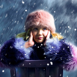 Emily in the snow by Malcolm Hare - Digital Art People ( girl, winter, snow, snowy, portrait,  )