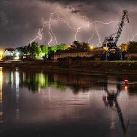Osijek by Zoran Osijek - City,  Street & Park  Night ( lighting, storm )