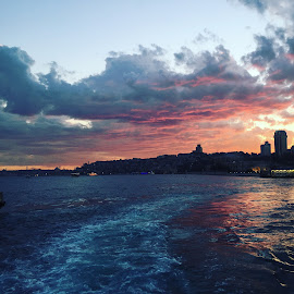 Magical by Ilyas Seckin - City,  Street & Park  Skylines ( clouds, red, sunset, bosphorus, istanbul )