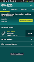 Screenshot of Arriva m-ticket