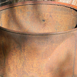 Rusty Old Barrel by Sarah Farber - Artistic Objects Industrial Objects