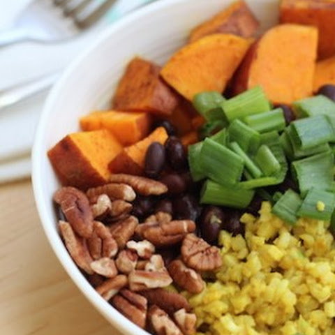 Thai Black Bean & Sweet Potato Bowl with Turmeric Cauliflower Rice