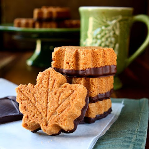 Chocolate-Dipped Maple Shortbread Cookies