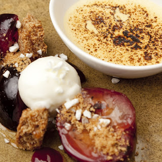Spiced plums with Meantime Porter sabayon, ginger crumble and iced yoghurt