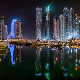 Dubai Marina by Karim Eldeghedy - City,  Street & Park  Skylines ( reflection, reflections, architecture, panorama, nightscape, pano, night photography, dubai, d750, long exposure, marina, nikon, panoramic )