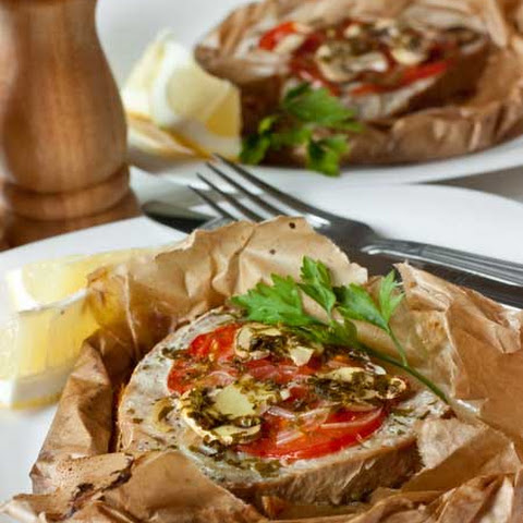 Tuna with Tomato and Mushrooms in Parchment