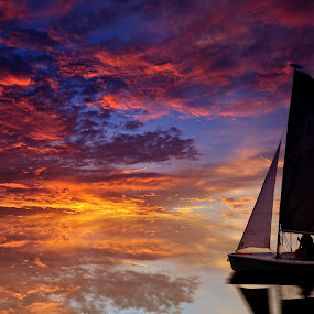 Sailing on the Sky by Mohamad Sa'at Haji Mokim - Digital Art Abstract ( abstract, sky, dream, sunset, boat, sailor )