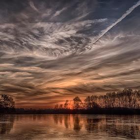 sunset above lake galder by Egon Zitter - Landscapes Sunsets & Sunrises ( clouds, sky, ice, dutch, lake, frozen )