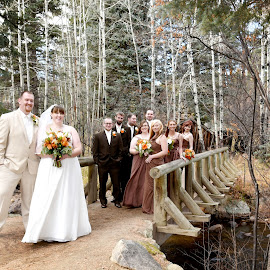 into the woods by Tina Parmelee - Wedding Groups ( love, wedding, beautiful, bride, groom, woods, wedding party,  )