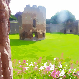 Ludlow Castle  by Vicki Clemerson - Digital Art Things ( ludlow, green, round, grass, building )