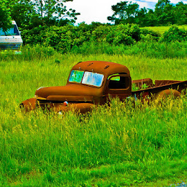 Old Truck Left Forgotten by William Hayes - Digital Art Things ( old, truck, vibrant, forgotten, antique )