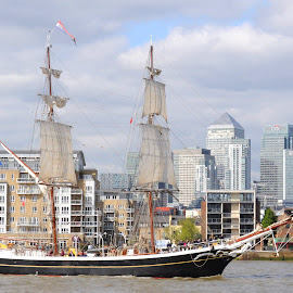 Morgenster on the Thames by DJ Cockburn - Transportation Boats ( ship, canary wharf, sails, boat, sailboat, mast, england, north greenwich, london, sailing, tall ship, rigging, maritime greenwich, morgenster, river thames, brig )