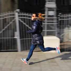 by Vanda Kopányi - Sports & Fitness Running ( inahurry, girl, hurry, woman, run, midair, svenk )
