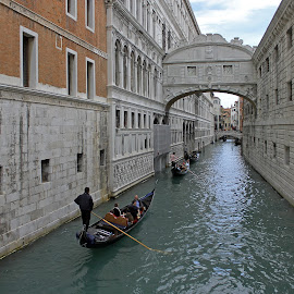 Gondola under Bridge of Sighs by Tony Murtagh - City,  Street & Park  Historic Districts ( canals and rivers, venice,  )