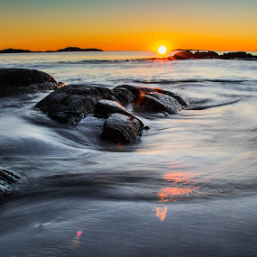 Sunset at Aakrasand #5 by Thomas Sjøen - Landscapes Sunsets & Sunrises ( sunset, beach, åkrehamn, coast, norway )