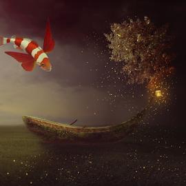 by Sergiu Pescarus - Digital Art Animals ( fantasy, night photography, tree )