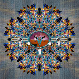 Cherokee  by Diane Johnson - Abstract Patterns ( pattern, blue, abstract photography, feathers, tribal )