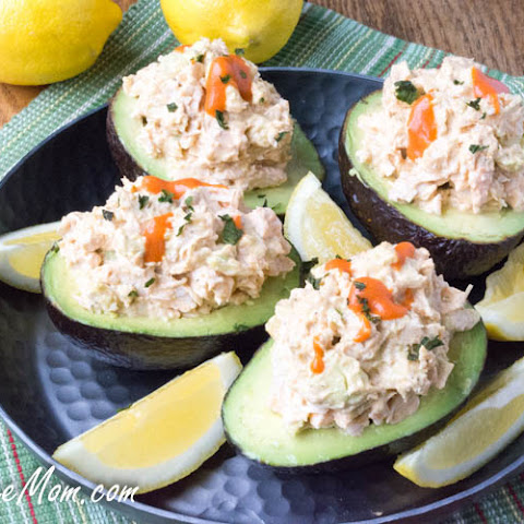 Low Carb Buffalo Chicken Salad Stuffed Avocado