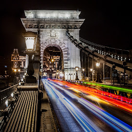 Chain reaction by Adam Freundlich - City,  Street & Park  Night ( cityscapes, hungary, budapest, chainbridge, night scene, cityscape, city, nightscape, night photography, chain, nighttime, night, magyarorszag, bride, night shot, nightscapes, city at night, street at night, park at night, nightlife, night life, nighttime in the city )