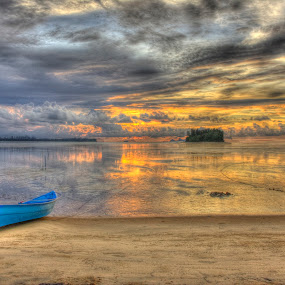 HDR version, Seascape by Fazrul Mustaqim - Landscapes Waterscapes ( hdr, sunset, sea, boat, landscape )
