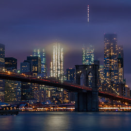 Manhattan In the Clouds by Carol Ward - City,  Street & Park  Skylines ( brooklyn bridge, dumbo, nyc, bridges, brooklyn )