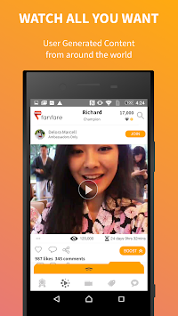 Fanfare - Share.Watch.Win APK screenshot thumbnail 3