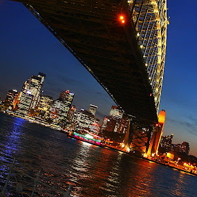 Under Sydney Harbour Bridge by Glenys Lilley - Buildings & Architecture Bridges & Suspended Structures ( harbour, australia, night, bridge, sydney )