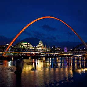Gateshead Millenium Bridge At Night by Sandra Cockayne - Buildings & Architecture Bridges & Suspended Structures ( gateshead milenium bridge, tyne and wear, sandra cockayne, gateshead, reflections, newcastle, bridges, landscape, millenium bridge, pwcbridges, river,  )