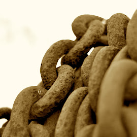 Chained by Frank Beaudoin - Abstract Macro ( mill, macro, chain, lowell, factory, massachusetts, close up, iron )