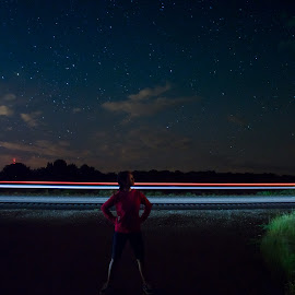 Trails with my daughter  by Paul Gibson - Abstract Light Painting ( red, blue, stars, light trails, long exposure )