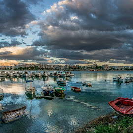 Boats by Konstantinos Kirikos - Landscapes Travel ( clouds, water, boating, sky, blue, green, fish, boats, boat,  )
