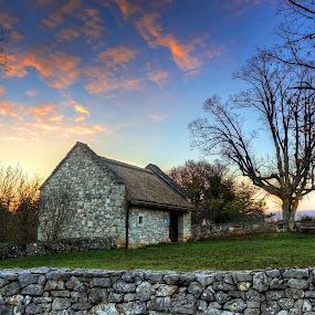 J'kopins barn by Matej Skubic - Buildings & Architecture Public & Historical ( building, barn, sunset, slovenia, stones, rocks, unesco )