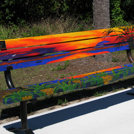 Painted Park Bench by Priscilla Renda McDaniel - Artistic Objects Furniture ( hand painted, bench, colorful, pretty, waterfront,  )