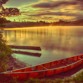 Early Bird by Chris Mare - Landscapes Travel ( dawn, canoe, lake, fishing, landscape, boat, pond, early bird, early morning )