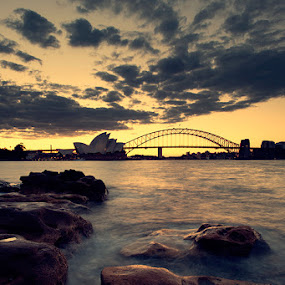 Dusk at Sydney by Ali Gosonotomo - Travel Locations Landmarks ( pwclandmarks )