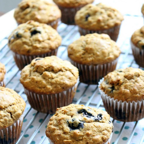 Banana Blueberry Muffins (made with whole wheat flour and honey)