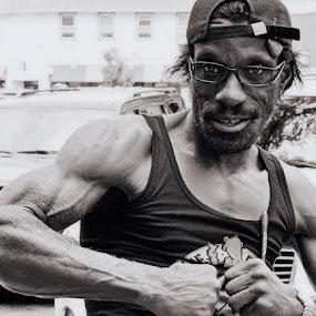 Leos Gun Show by MarySue Price - People Street & Candids ( person, muscles, street, street scene, posing, man )