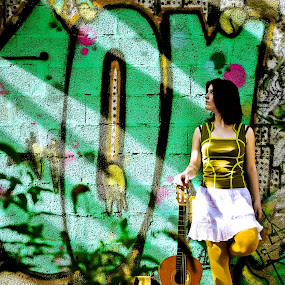 Light call  by Stwayne Keubrick - Digital Art People ( model, woman, colors, tag, guitar, glamour photography, colored, people )