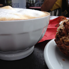 Latte with almond milk and carrot muffin.