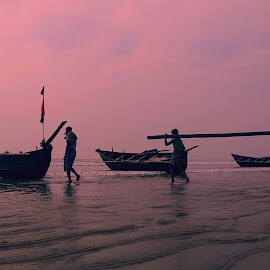Journey by Sourav Malik - Instagram & Mobile Other ( seashore, waves, boats, morning, people )