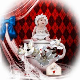 the teacup by Kathleen Devai - Digital Art People ( baby, cute, flowers, portrait, teacup )