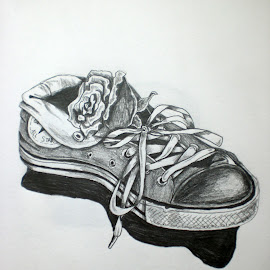 Shoe and Rose by Natasha Rupert - Drawing All Drawing ( pencil, rose, sketch, converse, shoe, flower, drawing )