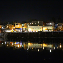 Reflections in the LaHave River by Lena Arkell - City,  Street & Park  Night ( water, lights, canada, reflections, night, black, city, river,  )