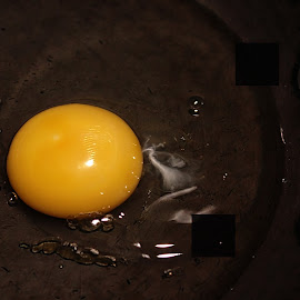 I'll Have Mine Sunny Side Up by Judy Laliberte - Novices Only Objects & Still Life ( reflections, yellow, egg, light, black )