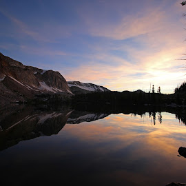 By Dawns Early Light by Kirby Hornbeck - Landscapes Sunsets & Sunrises ( clouds, water, mountains, lakes, trees, reflections, landscapes )