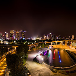 Night scenery from Marina Barrage, Singapore by CK Chong - City,  Street & Park  Night