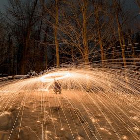 sparks by Jason Lemley - Uncategorized All Uncategorized ( winter, night photography, outdoors, snow, sparks, fire,  )
