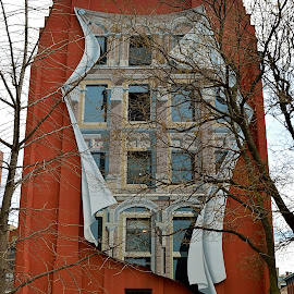 Innovative Art by Robert Ratcliffe - City,  Street & Park  Street Scenes ( building, make believe, red, creative, windows, innovative, artwork, red brick,  )