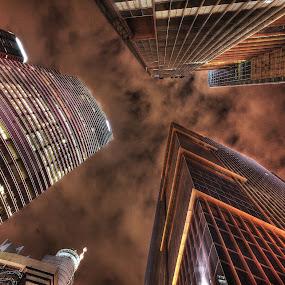 The Night Sky by Edo Kurniawan - City,  Street & Park  Skylines ( tower, building, area, bay, night, slow, marina, business, tall, singapore )